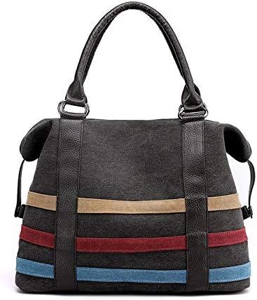 H/A 2020 New Shoulder Bag Casual Fashion Simple Striped Tote Bag Large-Capacity Portable Handbag Canvas Bag Wild MENGB (Color : Black, Size : 37x29x15CM)