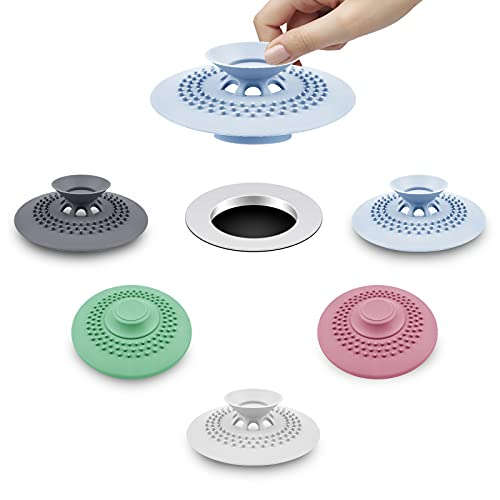 HengLiSam 5 Stück Duschablauf-Stopper aus Silikon für Badewanne, Waschbecken, Haarfänger für Badewanne, Abflusssieb, Schutz für Boden, Wäsche, Küche und Bad (5 Farben)