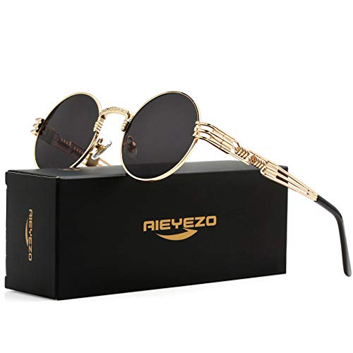 Round Steampunk Sunglasses John Lennon Hippie Glasses Metal Frame 100% UV Blocking Lens (Gold/Grey)