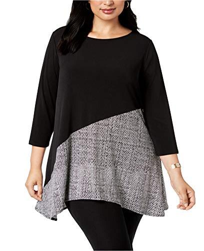 Alfani Womens Plus Swing Printed Tunic Top Black 1X
