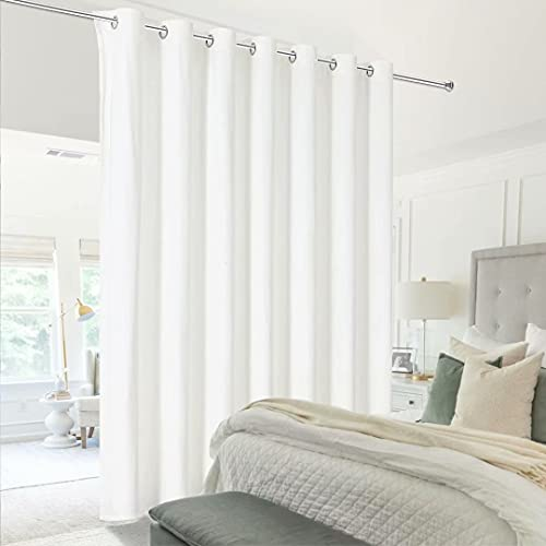 Victree Room Divider Curtain for Bedroom, Wide Velvet Curtains for Sliding Glass Door, Grommet Screens Sound Proof Privacy Curtain Panel for Living Room, 1 Panel, 9ft Wide x 8ft Tall, Bleach White