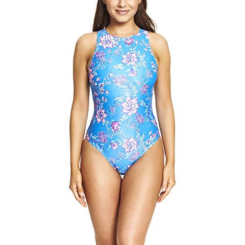 Zoggs Damen Badeanzug Wild Rose Hi Front Eco Stoff Einteiler, Damen, Einteiliger Badeanzug aus umweltfreundlichem Stoff, 113420036, Blau/Mehrfarbig, 36-Inch/UK 12