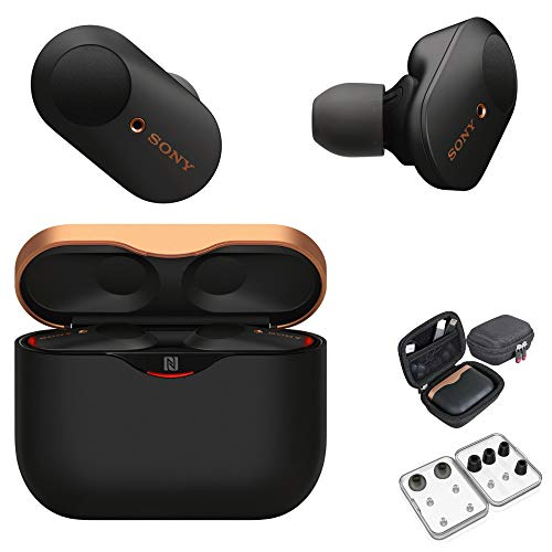 Sony WF-1000XM3 True Wireless Noise-Canceling Earbud Headphones (Black, USA Warranty) with Hardshell Travel/Storage case and Noise Isolating Memory Foam & Silicone Tips Bundle (3 Items)