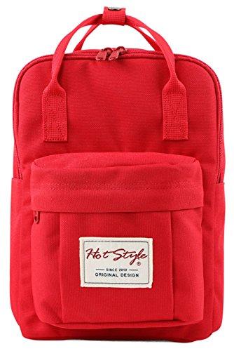 BESTIE 12' Small Backpack for Women, Girl's Cute Mini Bookbag Purse, Little Square Travel Bag, Crimson