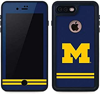 Skinit Michigan Logo Striped iPhone 8 Plus Waterproof Case - Officially Licensed Phone Case - Fully Submersible - Snow, Dirt, Water Protected iPhone 8 Plus Cover