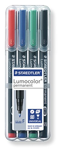 Staedtler 318 WP4 Feinschreiber Universalstift Lumocolor permanent, Staedtler Box mit 4 Farben