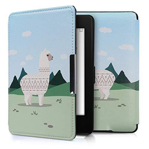 kwmobile Hülle kompatibel mit Amazon Kindle Paperwhite - Kunstleder eReader Schutzhülle (für Modelle bis 2017) - Alpaca Muster Champagner Grün Hellblau
