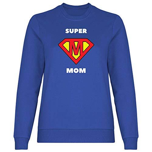 Print Dynastie Sudadera para Mujer Mama Mommy Mum Mother Family Idea del Regalo del día del Amor del corazón de la Madre, Tamaño:M, Color:Super Mom Royal