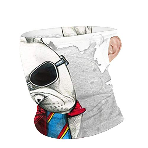 Lzz-Shop Bufanda de pañuelo Blanco de pasamontañas de Gafas Frescas de Bulldog francés