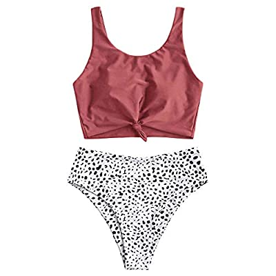 ZAFUL Women's Animal Print Knotted Tankini Set High Waisted Scoop Collar Padded Tankini Swimsuit (Small, Cherry Red)