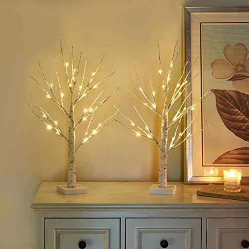 Vanthylit 2FT 24LT Pre-lit White Birch Tree Decorative Light Tabletop-Set of 2
