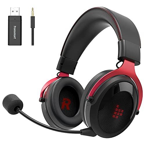 Tronsmart Shadow Auriculares Gaming inalambricos-2.4G, Surround 7.1/Audio de 50MM, Estéreo Cascos Gaming Inalámbricos para Juegos, Micrófono con Cancelación de Ruidocon Plegable y removeble