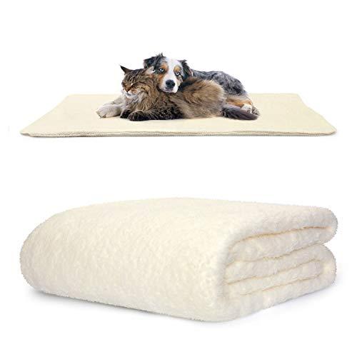 Snug Rug Haustierdecken – flauschige Sherpa-Fleece-Decke weich und warm Hunde und Katzen – waschbarer Überwurf für Auto Sofa Bett (groß 127 x 178 cm, creme)
