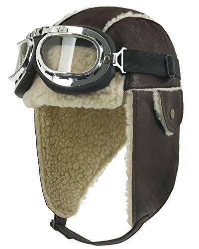 ililily Aviator Hat Winter Snowboard Fur Ear flaps Trooper Trapper Pilot Goggles, Brown,One Size (aviator-403-8)