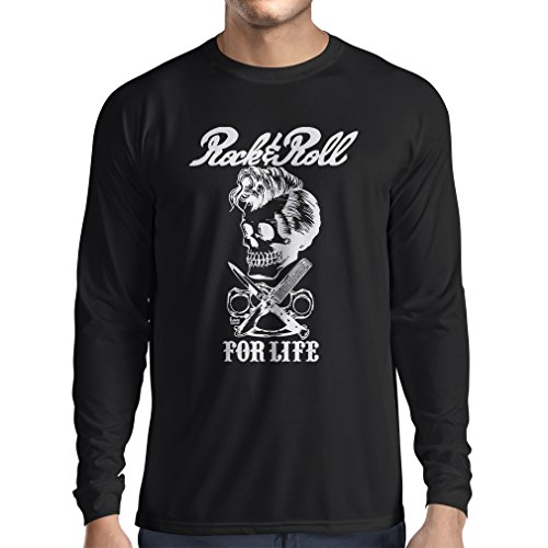 lepni.me Camiseta de Manga Larga para Hombre Rock and Roll For Life - 1960s, 1970s, 1980s - Banda de Rock Vintage - Musicalmente - Vestimenta de Concierto (Large Negro Multicolor)