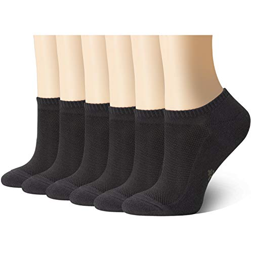 +MD Ultra Soft Athletic Bamboo Socks for Women and Men with Cushioned Sole No Show Casual Socks 6Black10-13