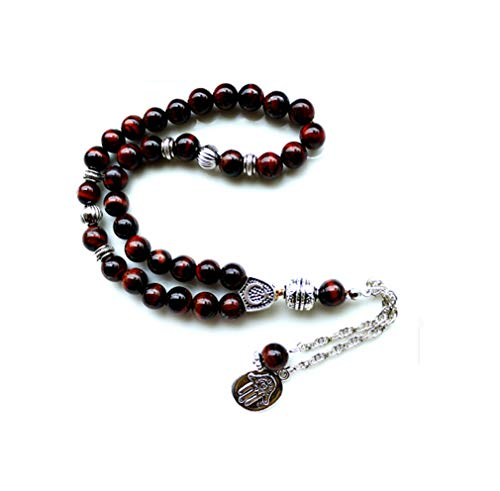 AccessCube Natürliche Hämatit Tiger Augen Stein Muslim 33 Perlen Gebetskette Islamische Tasbih Allah Gebet Rose (3)