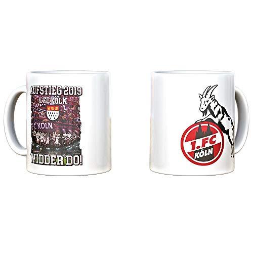 1. FC Köln Tasse zum Aufstieg 2019, Aufstiegstasse, Kaffeetasse, Widder DO! - Plus Lesezeichen I Love Köln