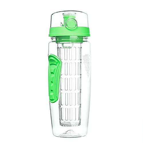 GYCC - Botella de Agua para infusiones y Tubo Aislante para Senderismo, Camping, Escalada, Viajes, Escuela, Regalo para la Oficina y el hogar, Vidrio, Verde, Large