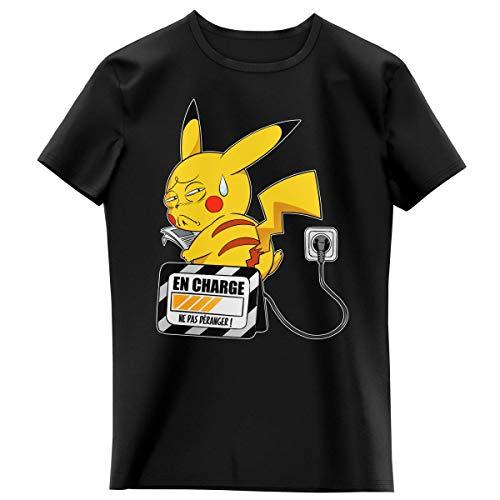 Okiwoki T-Shirt Enfant Fille Noir Parodie Pokémon - Pikachu - en Charge. (Super Deformed) (T-Shirt Enfant de qualité Premium de Taille 11-12 Ans - imprimé en France)