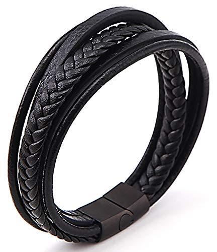 Pulsera de cuero para hombre, color negro, con varios hilos de piel, en caja de regalo, 20 cm, con cierre magnético de acero