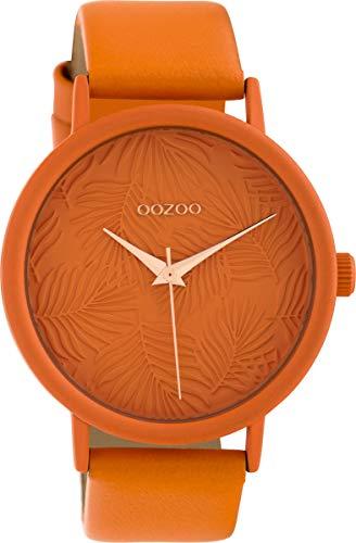 Oozoo Damenuhr mit Lederband 42 MM Colours of Summer Palmen Zifferblatt Unicolor Orange C10165
