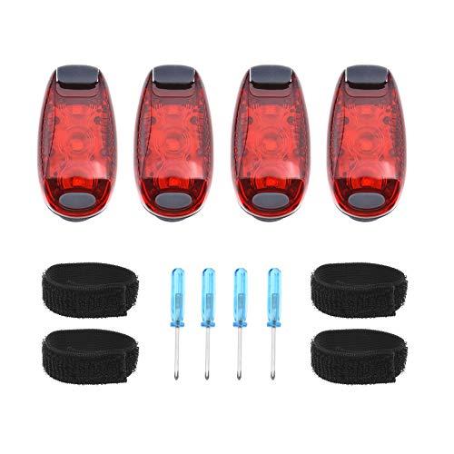 4-teiliges LED-Sicherheitslicht-Set mit Schraubendreher und Riemen zum Anklippen, Warnung, Joggen, Knöchel, Kleidung, Rot