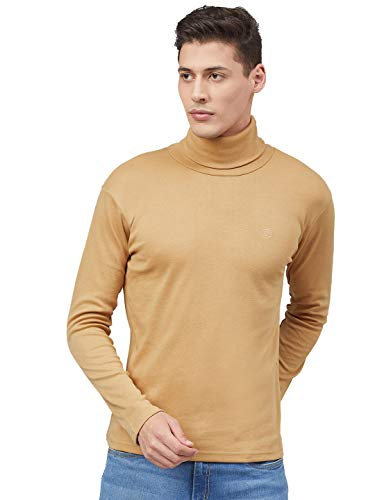 CHKOKKO Winter Wear Cotton Plain Full Sleeve Turtle Neck T Shirt for Men