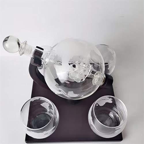 JIAN Globo antiguo whisky botella de vino Brandy dispensador con soporte de madera Home Bar N1HA exquisito