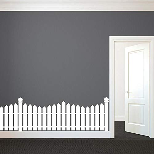 Wall Art Decor Decals Removable Mural White Picket Fence Wall Decal Custom Vinyl Art Stickers for Nurseries, Kids Rooms, Classrooms, Hallway Decor