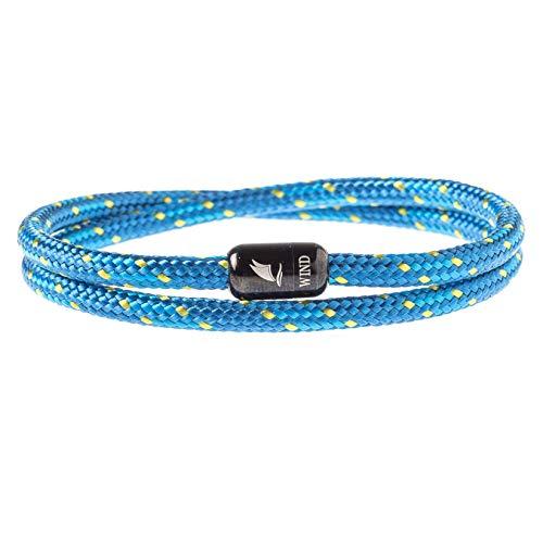 Wind Passion Pulsera Azul Magnética de Cuerda Trenzada Nautica para Hombre y Mujer, Tall Small