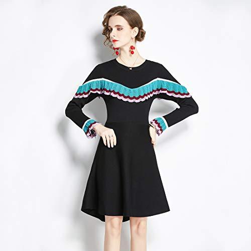 Hanks Shop. Kleid Herbst und Winter gestrickte Stitching-Kleid Mode schlanke langärmeligen Pullover Basis Kleid (Color : Black, Size : Freesize)