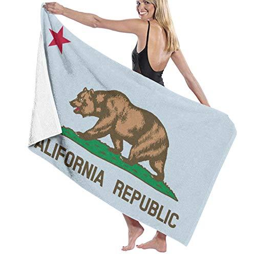 Toalla de baño con bandera del estado de California Republic de secado rápido, suave, toalla de ducha de playa, 130 x 80 cm