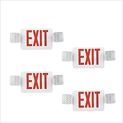 EXITLUX 4 Pack LED Emergency Light Combo Exit Sign Light with Double LED Head Back-Up Batteries Commercial Functional Lighting Fixtures,Wall Mounted,UL Listed Emergency Lighting for Corridor Hallway
