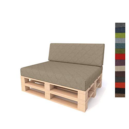Pillows24 Palettenkissen 2-teiliges Set | Palettenauflage Polster für Europaletten | Hochwertige Palettenpolster | Palettensofa Indoor & Outdoor | Erhältlich Made in EU | Cappuccino