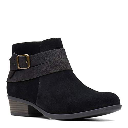 Clarks Women's, Addiy Cora Ankle Boot Black Suede 8 M