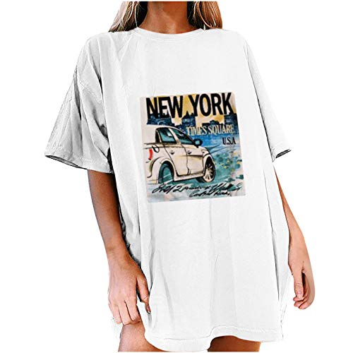 Risaho Damen Lustiges T-Shirt Vintage Retro Autodruck Shirt Kurzarm Sommer Oberteile Tee Tops