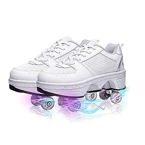 FLY FLQ Zapatos con Ruedas de deformación Zapatos con polea Invisible Patines con Doble Fila para Adultos,40