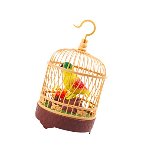 jojofuny Jaula Falsa Pájaro Ilumina Imitación Loro Figurita Juguete Eléctrico Control de Voz Perico Rama de Árbol Juego Educativo Temprano para Niños sin Batería