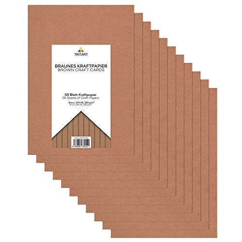 Tritart - Kraftpapier A5 260g /m² I Natur Karton für Faltkarten 55 Blatt I stabiles kreativ Tonpapier zum Basteln und Malen I Fester Zeichenkarton DIY Tonzeichenpapier I braunes Papier Vintage