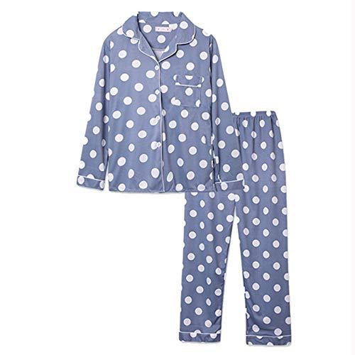 LangfengEU Camisón Resistente al Encogimiento cómodo Pintura de Puntos Ultraligero Pijama Holgado Superior botón de Inicio Cuello Vuelto Pijama Inferior