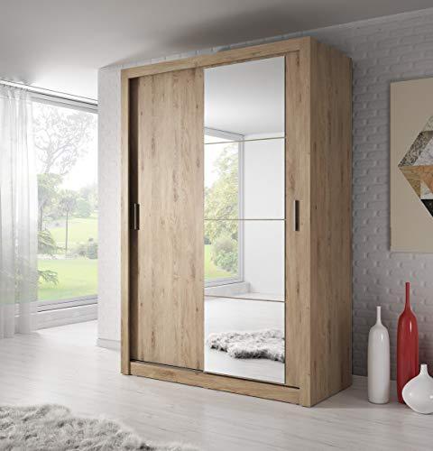 Schwebetürenschrank Kleiderschrank AR-04 ARTI Garderobenschrank mit Spiegel Schiebetürenschrank (Shetland Eiche)