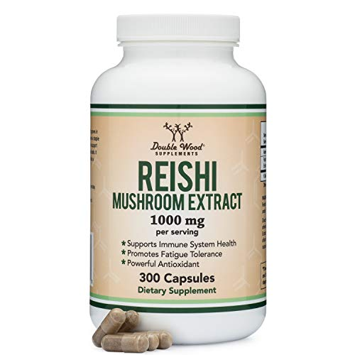 Reishi Mushroom Capsules (4:1 Ganoderma Extract, 1,000mg Reishi Powder Servings) 300 Count, 5 Month Supply, for Immune System Support and Defense by Double Wood Supplements