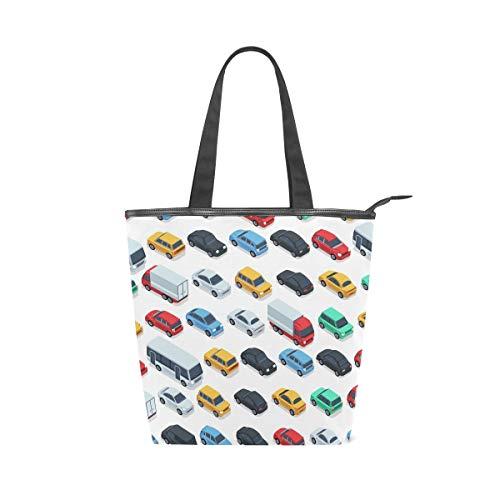 XiangHeFu Bolsos de mano Road Cars Pattern Tote Canvas Shoulder Bag