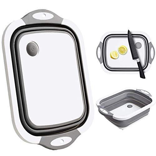 Multifunktions-Schneidebretter, zusammenklappbar, tragbares Waschbecken, Abtropfkorb, platzsparend, faltbar, für Küche und Camping