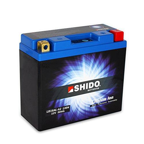Batterie 12V 4,8AH(16AH) YB16AL-A2 Lithium-Ionen Shido 51616 Ducati 350 SS 350J 400 600 Monster M300 ab FG02962- bis FG02961 748 Biposto H3 R S SP SPS 750 Dark i.e. Sport Carenata V2