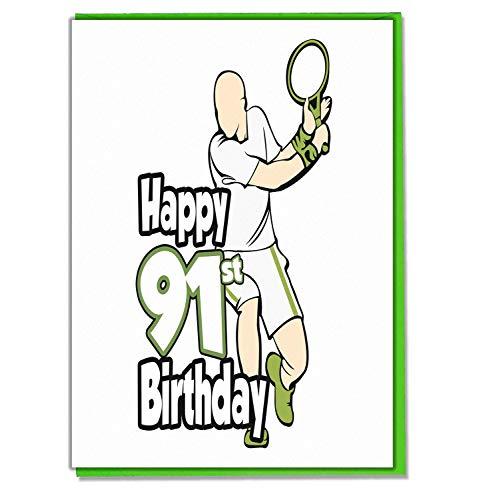 Tennis - 91st Verjaardagskaart - Mannen, Zoon, kleinzoon, Papa, Broer, Echtgenoot, Vriend
