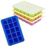 Kurtzy Eiswürfelbehälter mit Deckel Transparent (4Stk) - Flexible Eiswürfelform Silikon,...