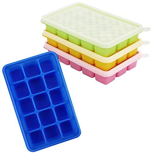 Kurtzy Eiswürfelbehälter mit Deckel Transparent (4Stk) - Flexible Eiswürfelform Silikon, Eiswürfelbox für 60 Eiswürfel – Eiswürfelbereiter Form Stapelbar für Babynahrung, EIS, Getränke – BPA frei