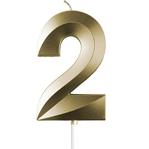 "saizone Velas de Números, Velas numéricas para Tarta de cumpleaños, Decoraciones para Tartas, Velas de cumpleaños, Color Dorado champán, decoración para Tartas con Purpurina 0-9.""2"""